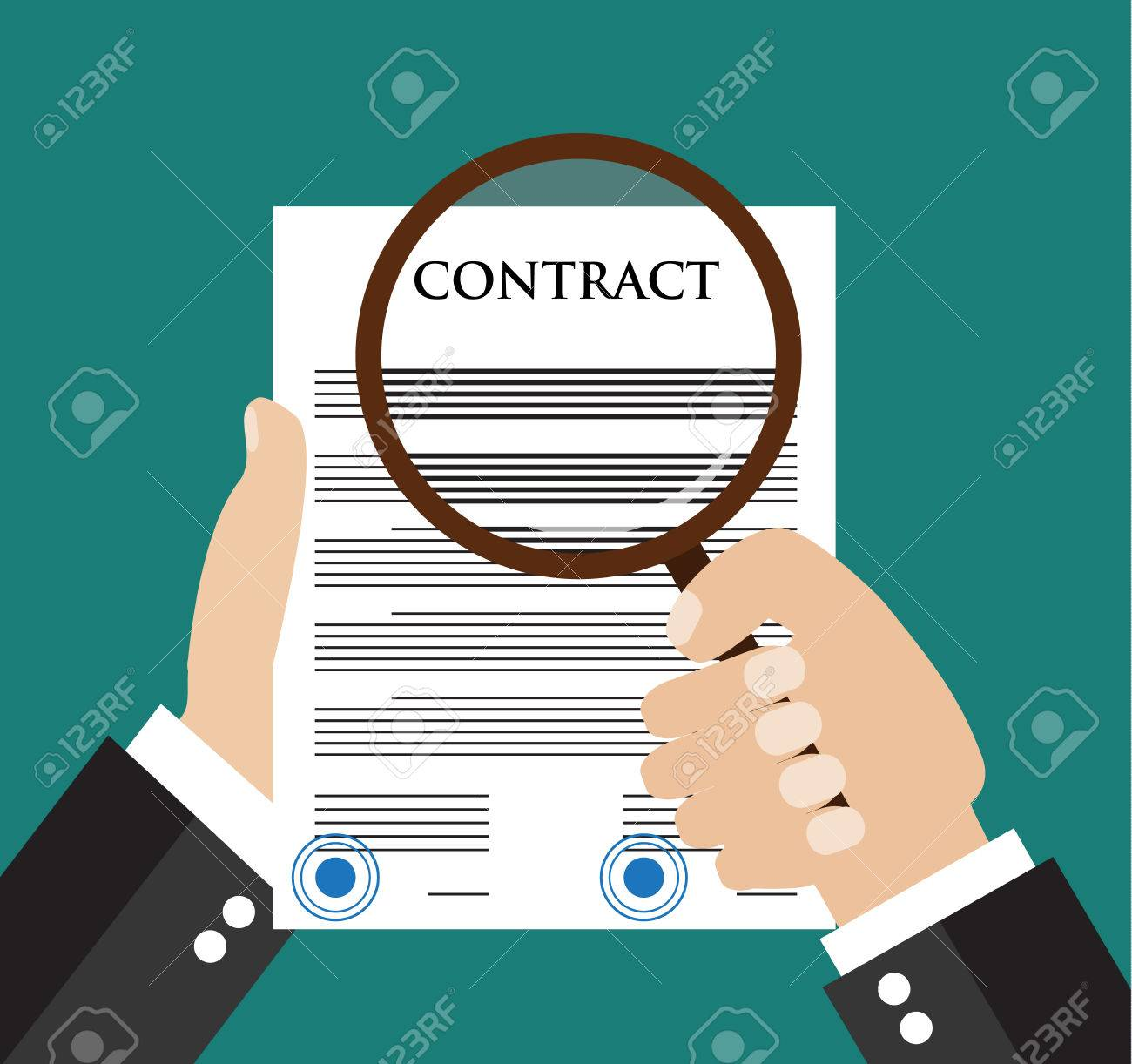 Contract Inspection Concept   Hand Holding Magnifying Glass Over A Contract    Flat Icon Modern Design