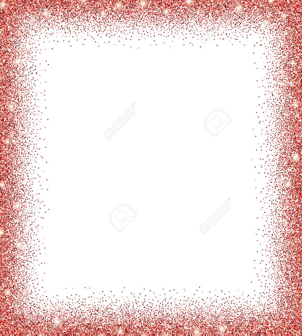 Roter Glitzer Hintergrund. Rot Funkelt Auf Weißem Hintergrund. Kreative  Einladung Für Party, Urlaub