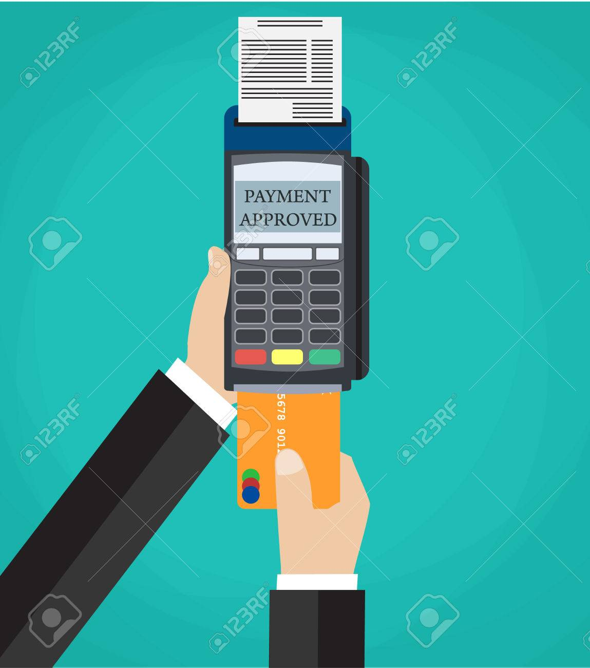 Hand pushing credit card in to pos terminal  using credit debit
