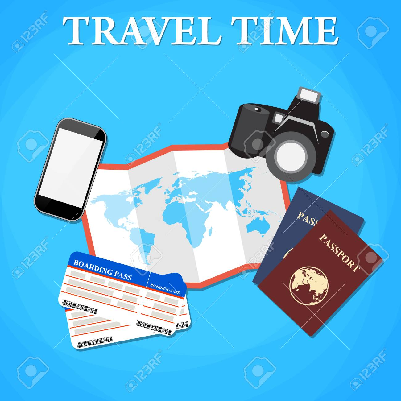 Travel and tourism concept air tickets passports and phone travel and tourism concept air tickets passports and phone camera and world map gumiabroncs Choice Image