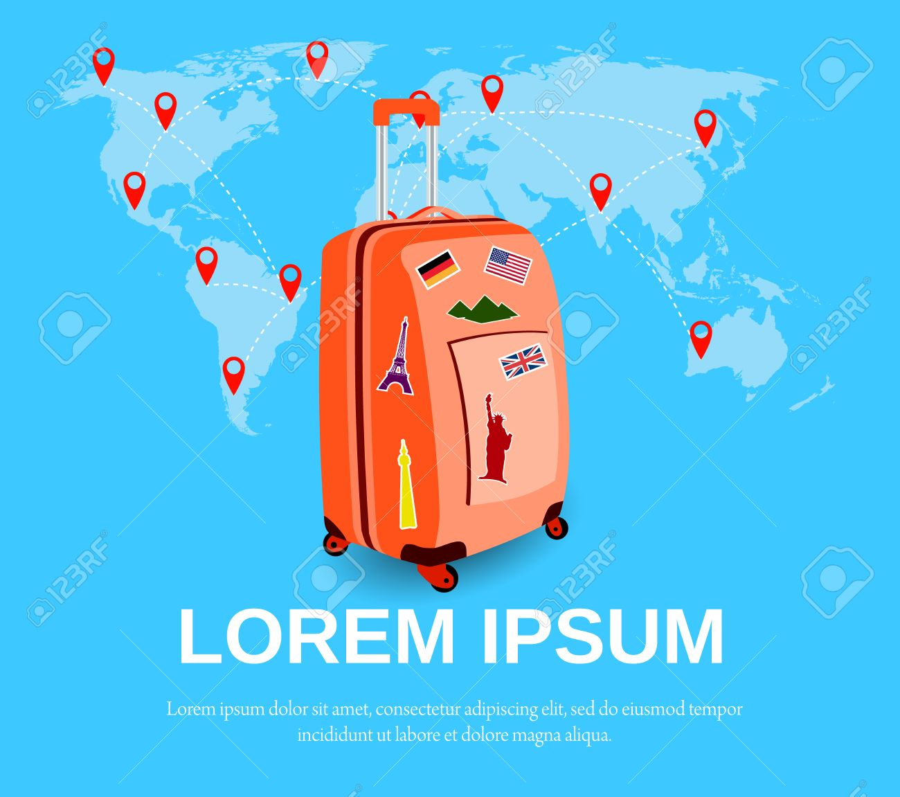 Colourful travel concept vector flat banner with travel bag and colourful travel concept vector flat banner with travel bag and world map travel suitcase with gumiabroncs Image collections