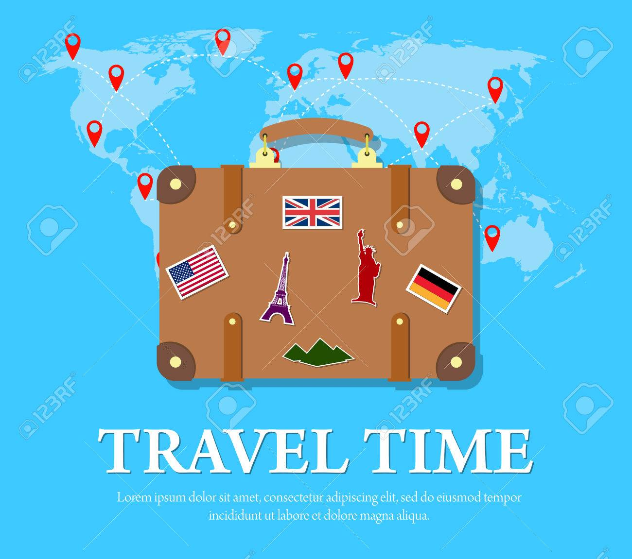 Colourful travel concept vector flat banner with travel bag and colourful travel concept vector flat banner with travel bag and world map travel suitcase with gumiabroncs Images