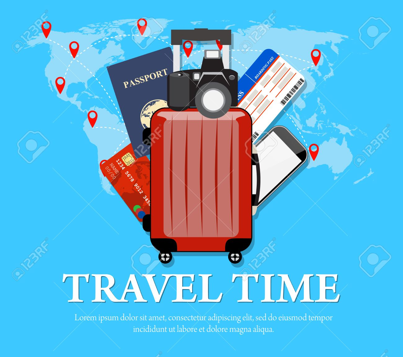 Colourful travel concept vector flat banner with travel bag and colourful travel concept vector flat banner with travel bag and world map travel suitcase gumiabroncs Image collections