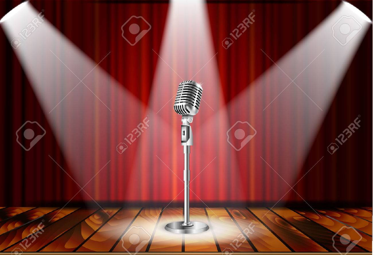 Metallic silver vintage microphone standing on empty stage under beam of spotlight light. mic on podium in the dark against red curtain backdrop. vector art image illustration, retro design - 53482621