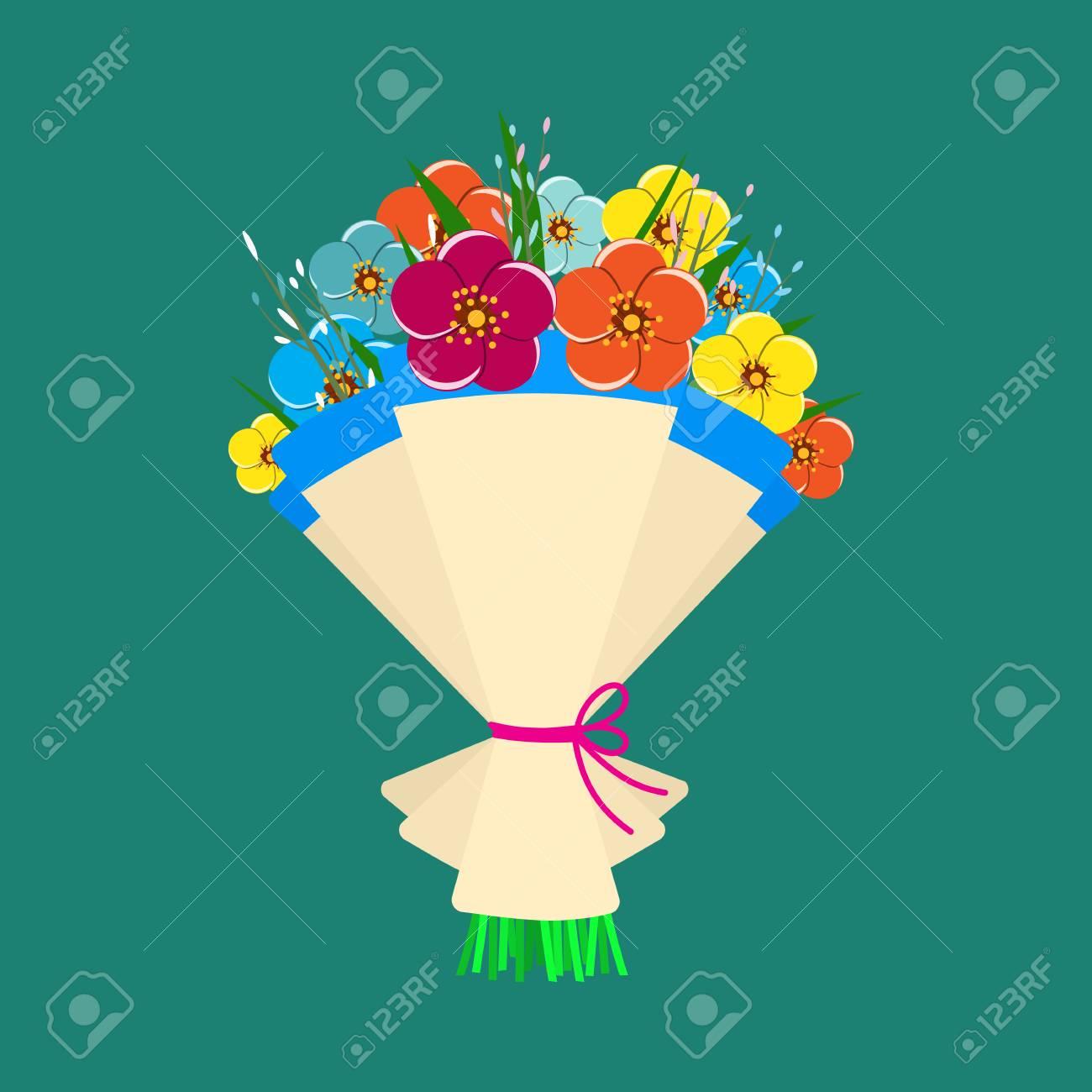 かわいい春の花のブーケ。美しい結婚式の花束の花、誕生日の花束花ベクトル フラットなデザインでイラスト