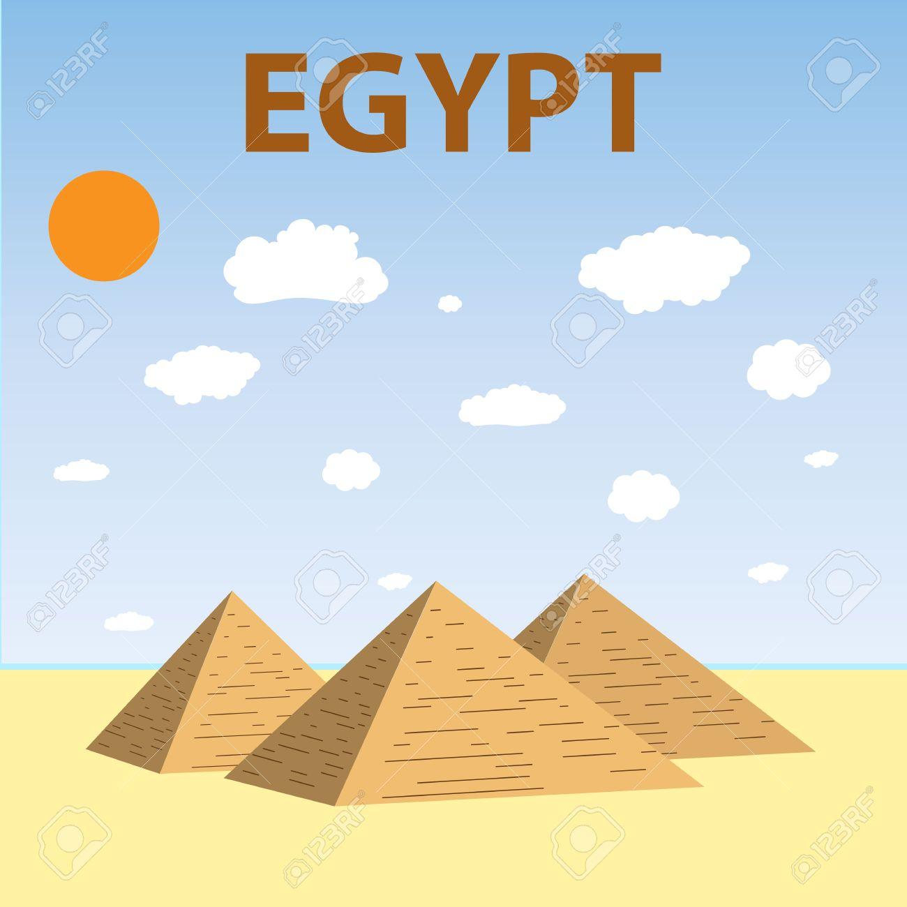 Flat Design Of Three Egypt Pyramids Vector Pyramids Giza Tourism Royalty Free Cliparts Vectors And Stock Illustration Image 55052798