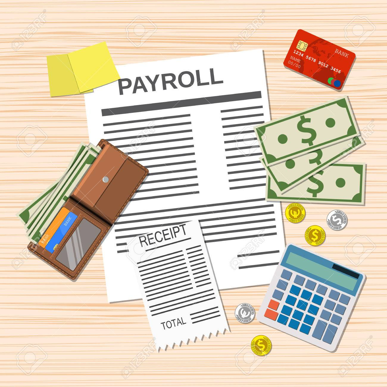 Payroll Concept. Payroll Invoice Sheet, Check Receipt, Calculator, Leather  Wallet, Money  Payroll Invoice
