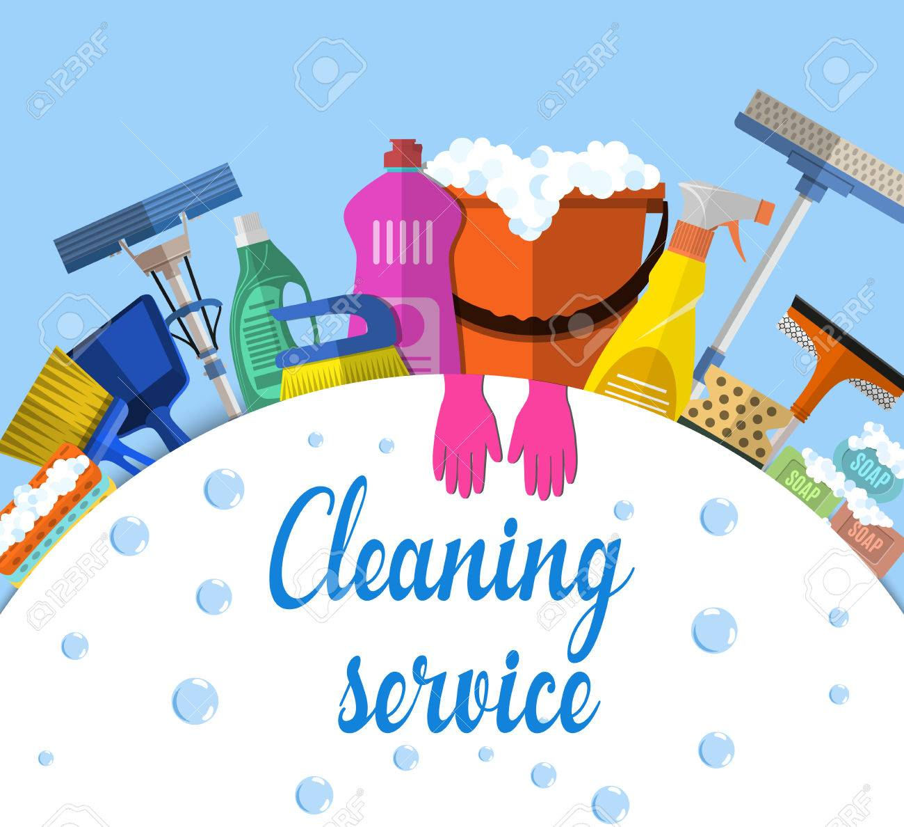 Attractive Cleaning Service Flat Illustration. Poster Template For House Cleaning  Services With Various Cleaning Tools.