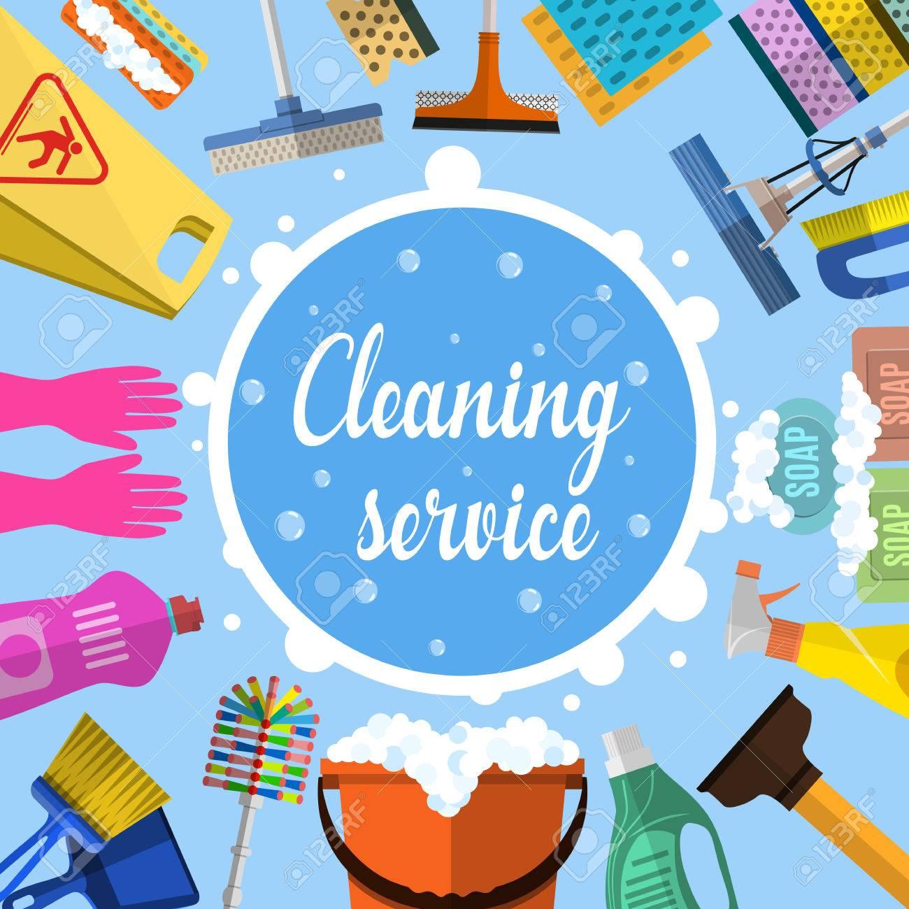 El Servicio De Limpieza Plana Ilustración. Modelo Del Cartel Para ...