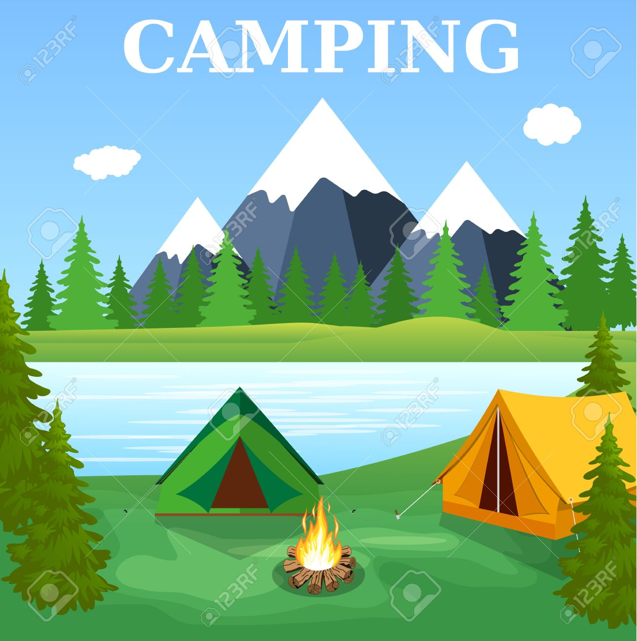 Vector Flat Illustration Camping Nature Background With Grass