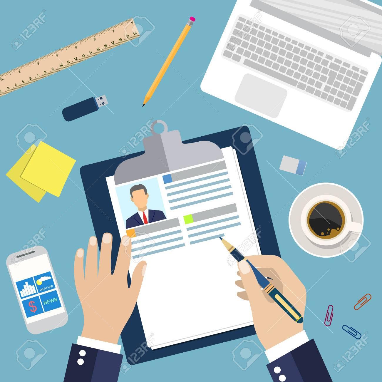 Reanudar La Escritura De Negocios En El Trabajo. Concepto De Empleo ...