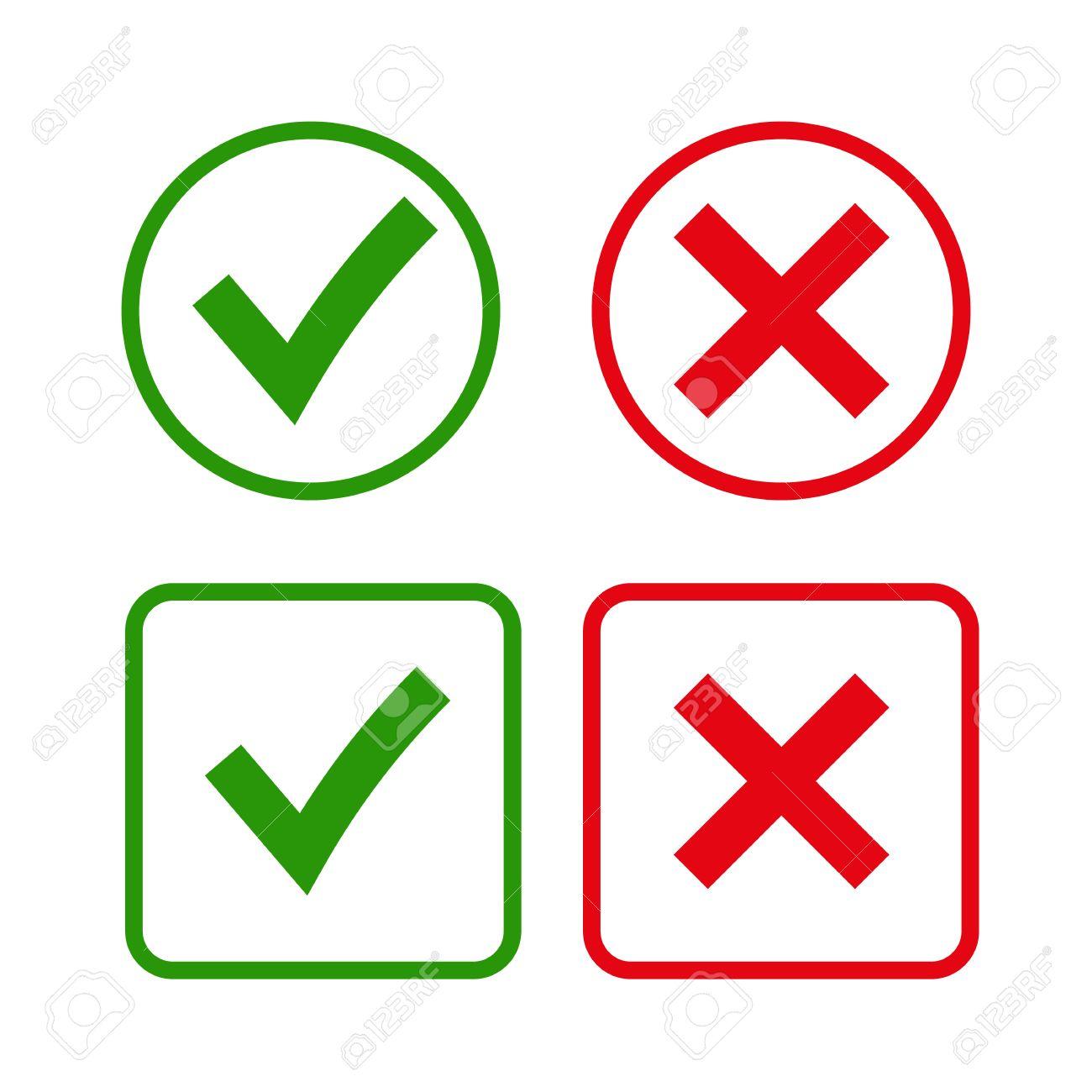 Ankreuzen Und Cross Zeichen. Grünes Häkchen OK Und Rote X Symbole ...