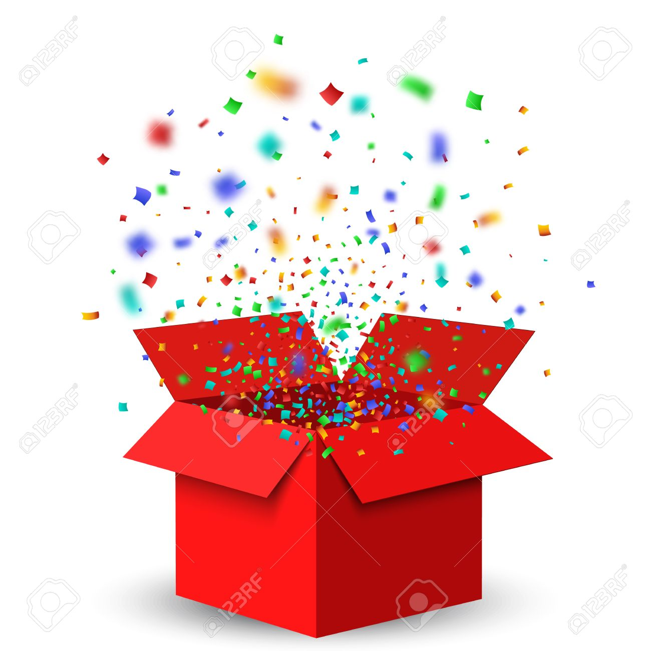 Open Red Gift Box and Confetti. Christmas Background. - 60315532