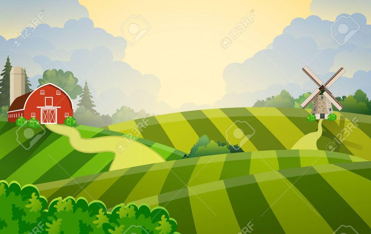 Cartoon Farm Field Green Seeding Field, Red Barn On A Green Farmers ... for Farm Field Cartoon  153tgx