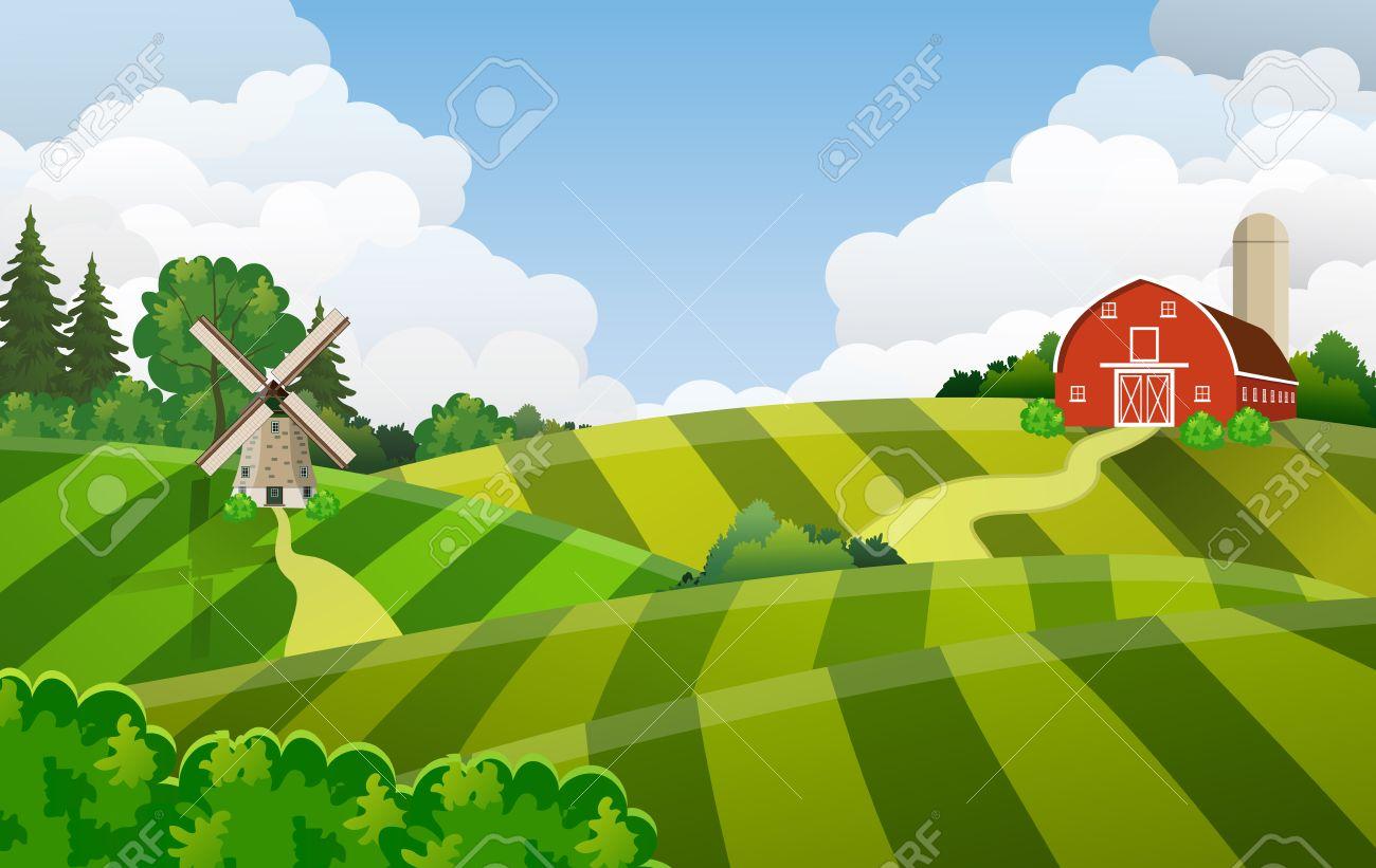Cartoon Farm Field Green Seeding Field, Red Barn On A Green Farmers ... for Farm Field Cartoon  70ref