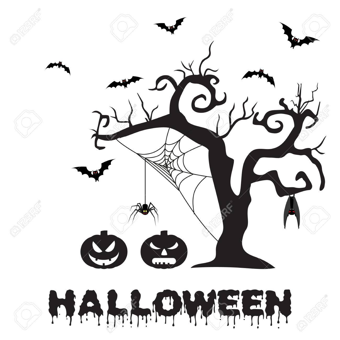 Spooky Silhouette Of Halloween Tree, Pumpkin, Spider On Web And Bats.  Vector Illustration