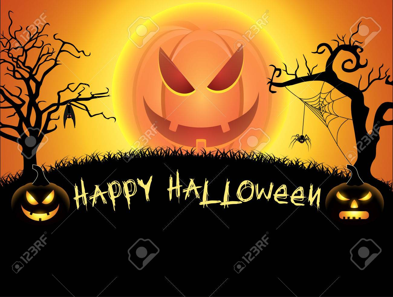 Spooky Card For Happy Halloween. Orange Background With Pumpkin Full Moon,  Spider, Witch