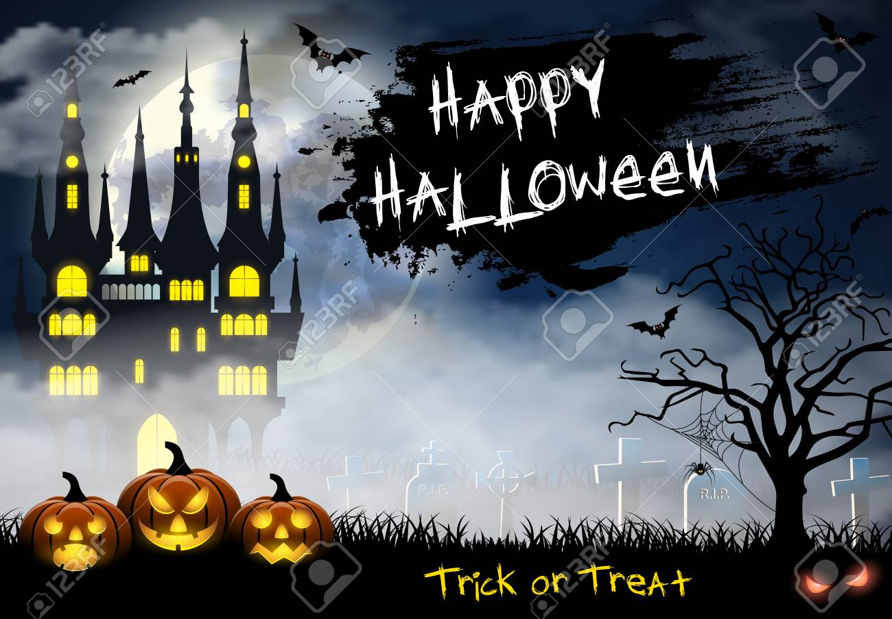 Spooky Card For Halloween. Blue Background With Full Moon, Tombstones,  Spider, Castle
