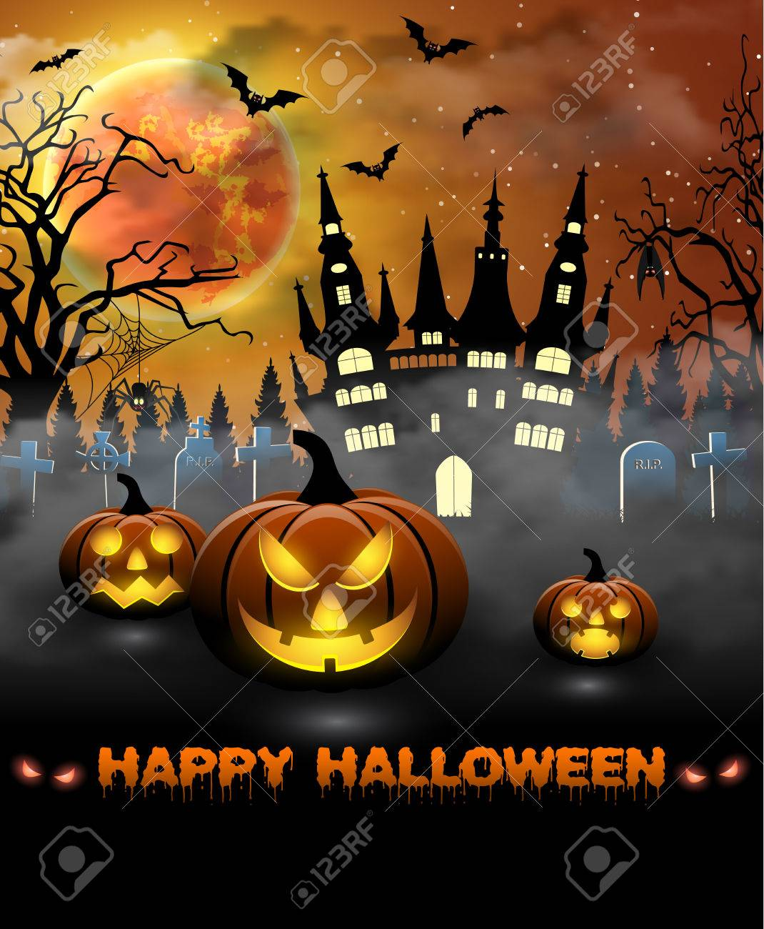 Lovely Spooky Card For Halloween. Orange Background With Full Moon, Tombstones,  Spider, Castle