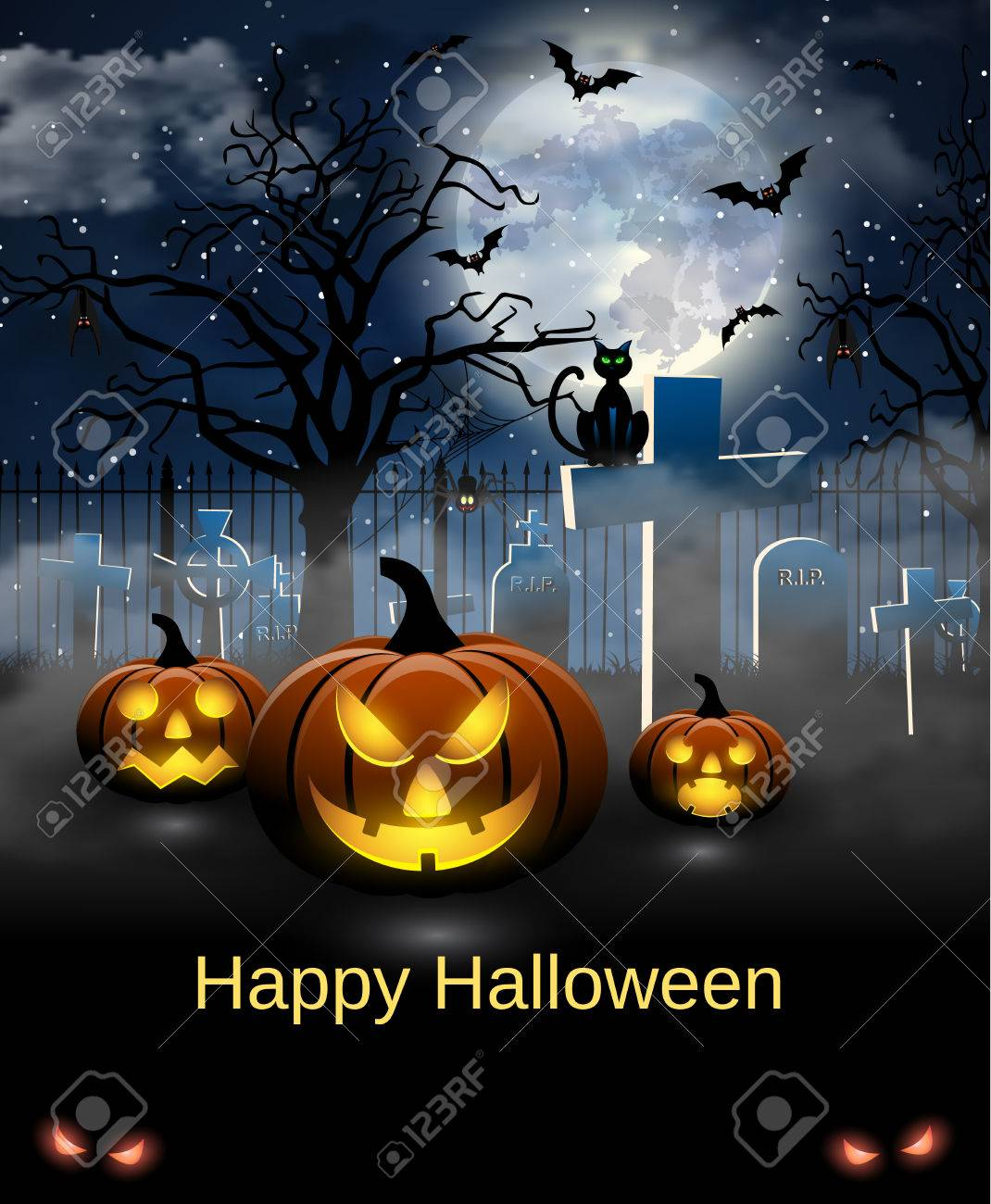 Attractive Spooky Card For Halloween. Blue Background With Full Moon, Tombstones,  Spider, Cat