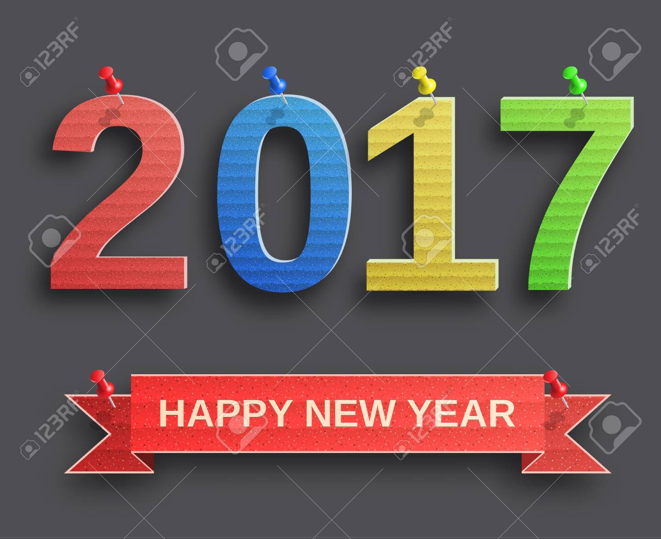 Happy New Year 2017 Design From Cardboard With Pin Design Element