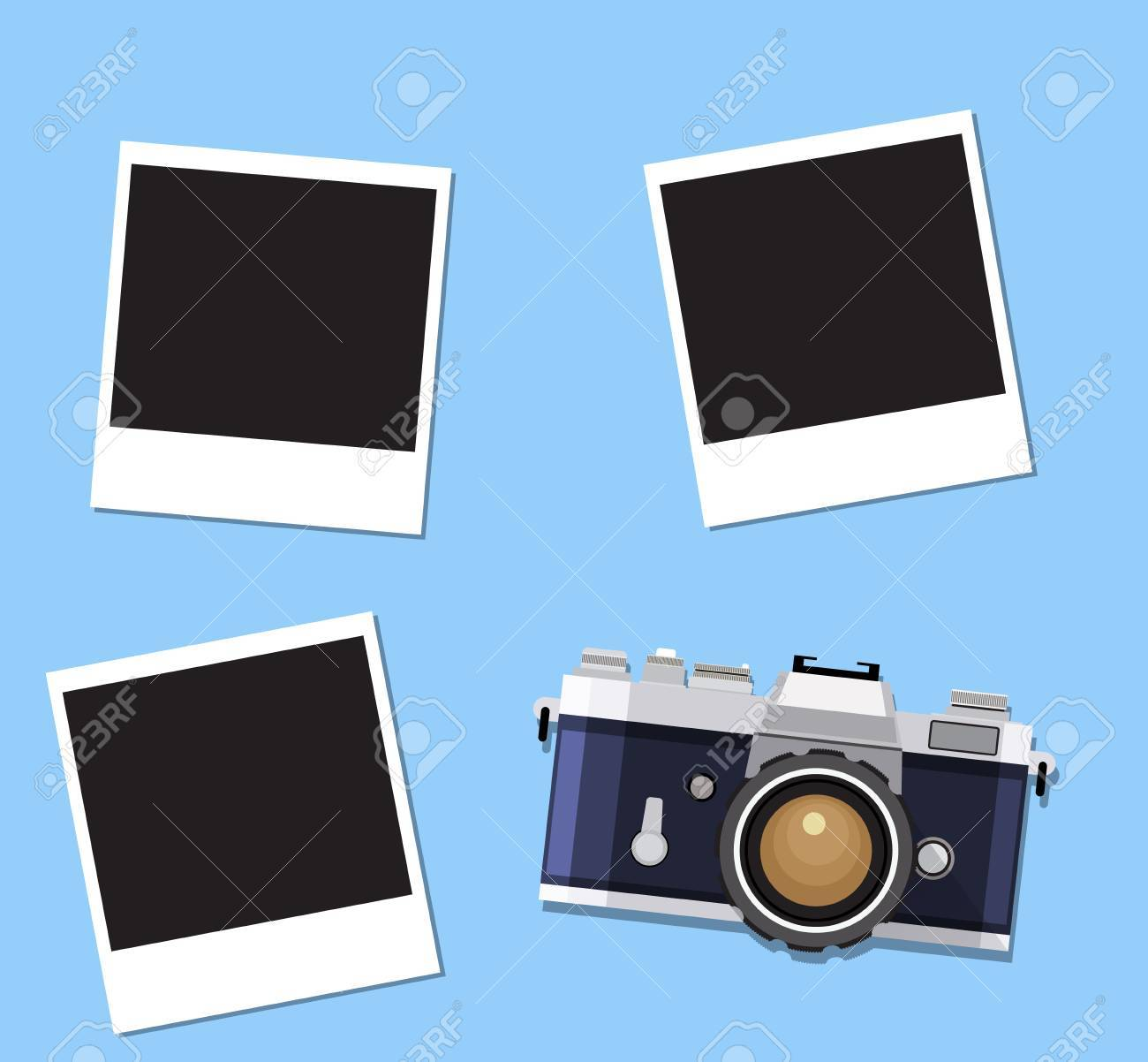 Retro Old Camera And Instant Photo Frames On Blue Background ...