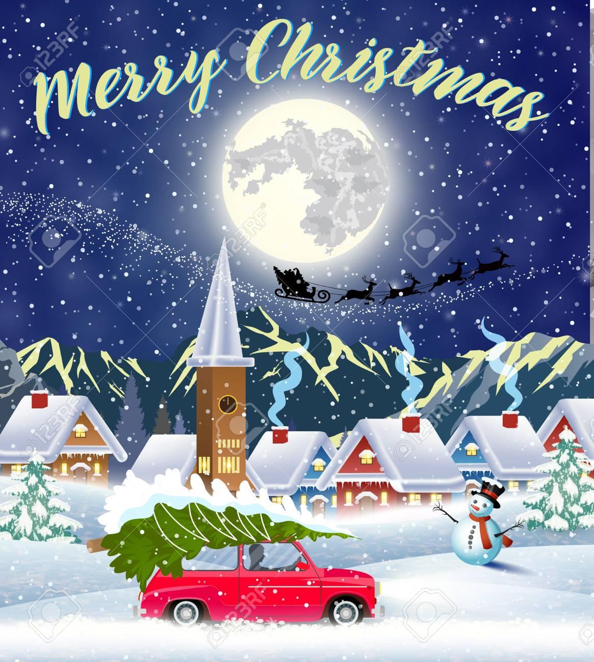 Paesaggi Di Natale.Carta Di Progettazione Del Paesaggio Di Natale Di Auto Retro Con Albero Sulla Parte Superiore Sfondo Con La Luna E La Sagoma Di Babbo Natale Che Vola