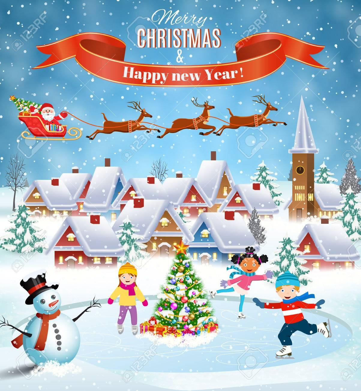 Glückliches Neues Jahr Und Frohe Weihnachten Landschaft Karte Design ...