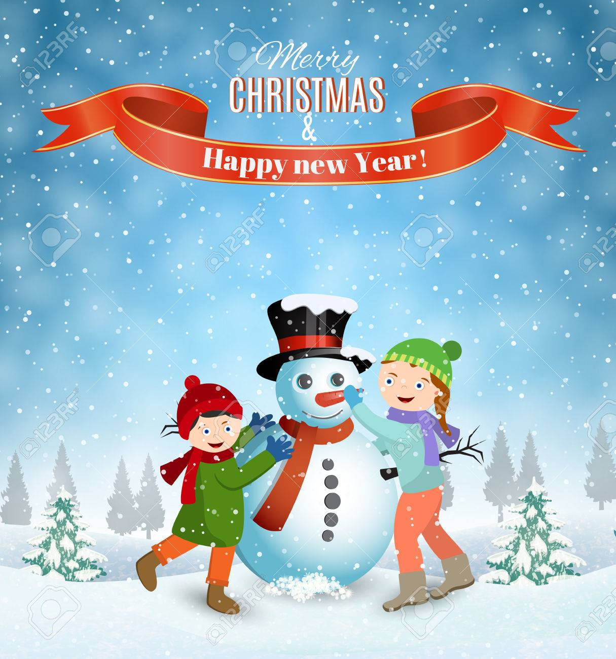 Happy New Year And Merry Christmas Greeting Card Winter Fun