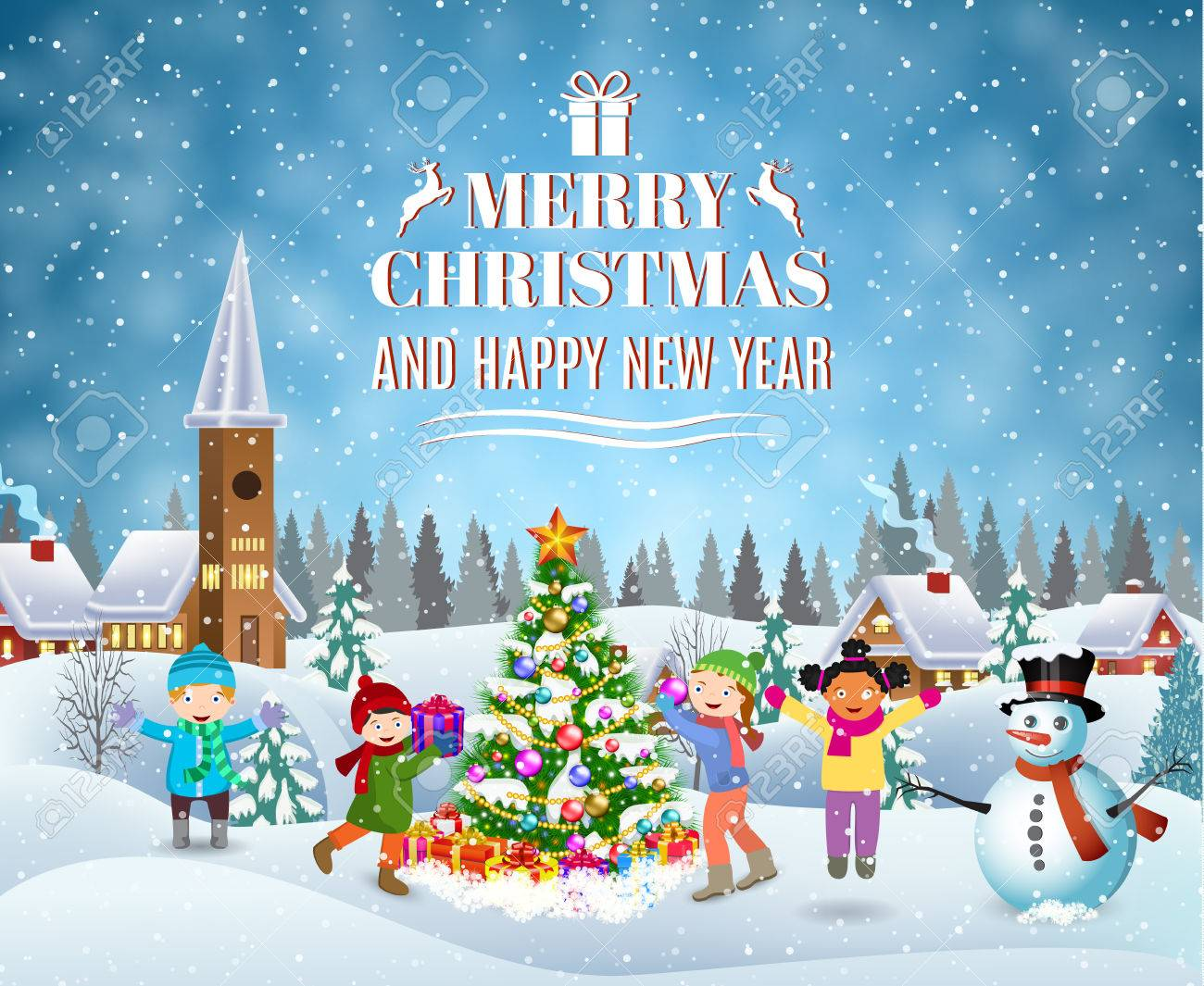 happy new year and merry christmas greeting card winter fun royalty free cliparts vectors and stock illustration image 65879208 happy new year and merry christmas greeting card winter fun