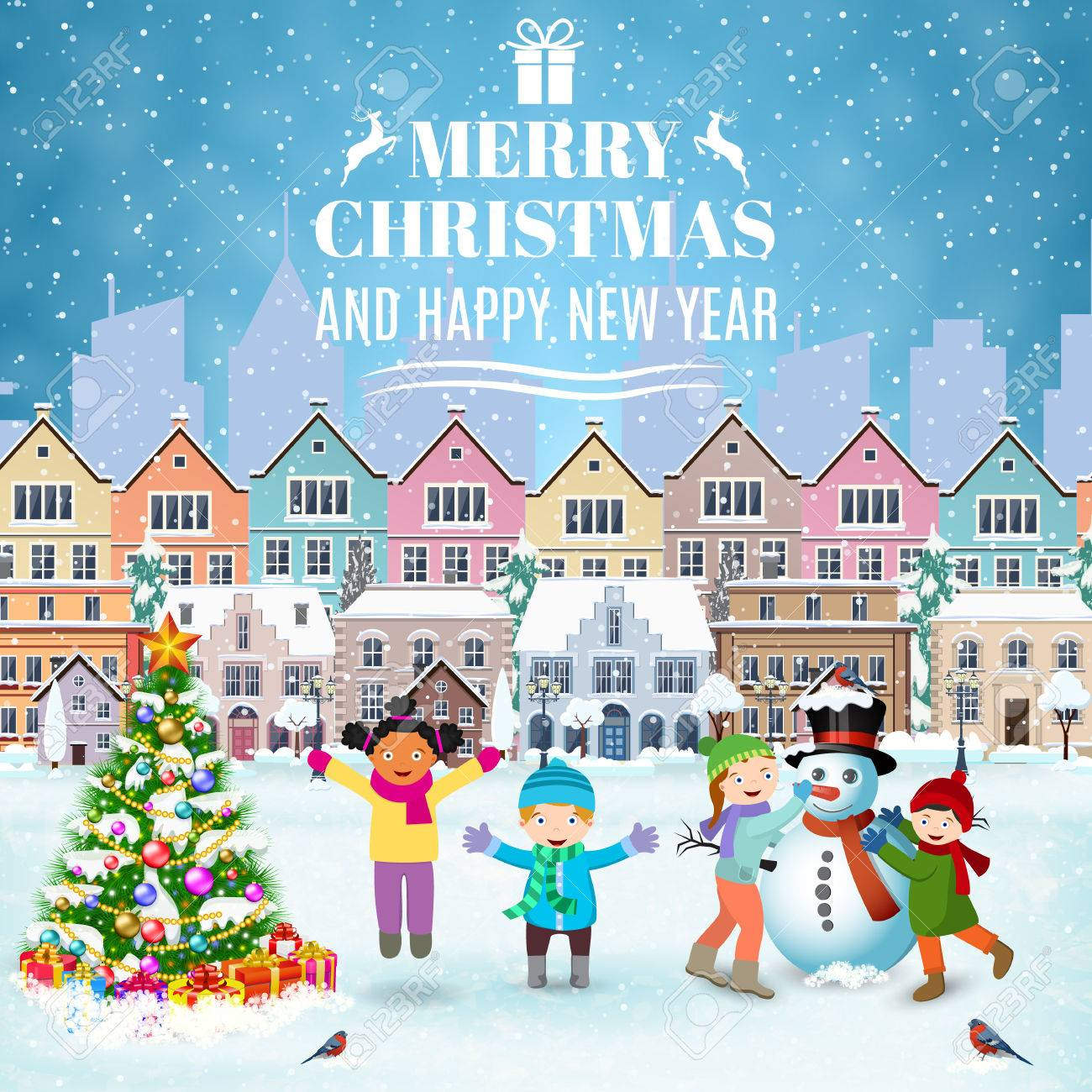Buon Natale Bambini.Vettoriale Felice Anno Nuovo E Buon Natale Inverno Strada Vecchia