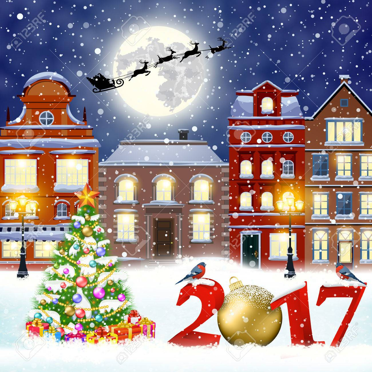 happy new year and merry christmas winter old town street with christmas tree santa claus