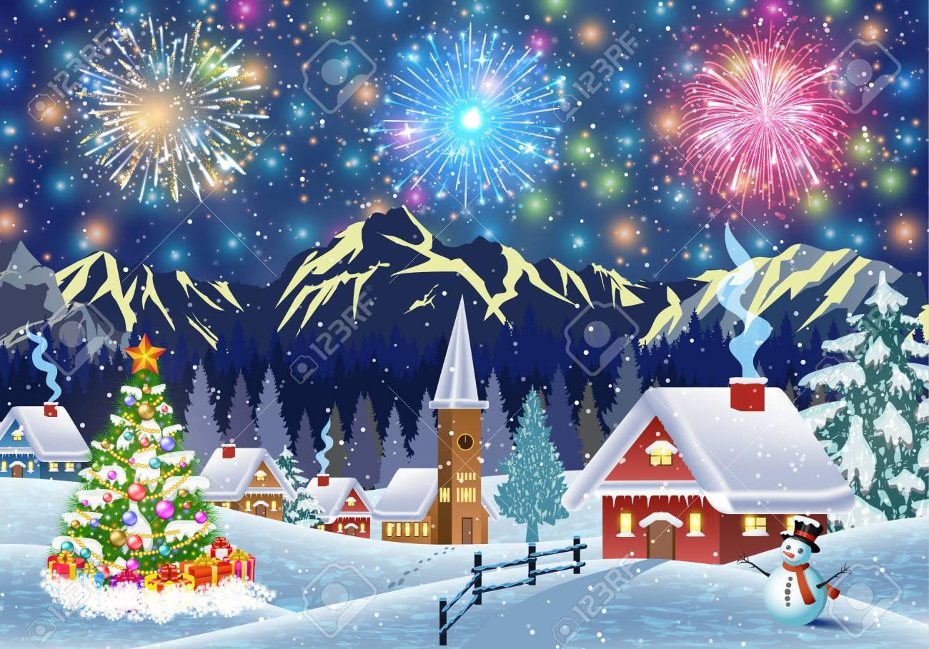 Une Maison Dans Un Paysage De Noël Enneigée Dans La Nuit. Arbre De