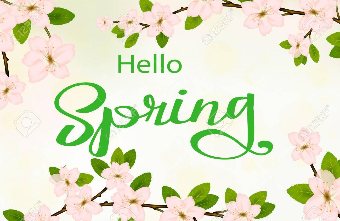 Bonjour Fond De Printemps Avec Branche De Fleur De Cerisier Fleur