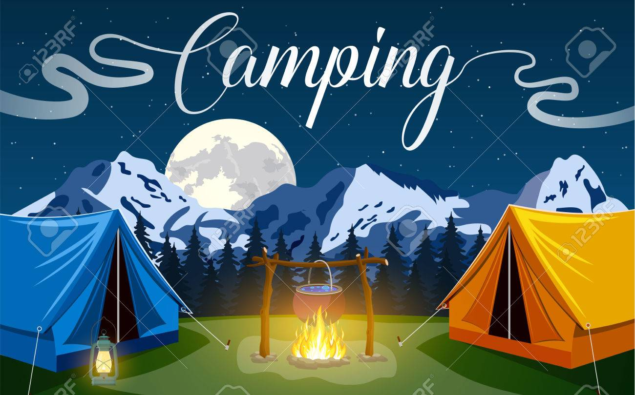 Family Adventure Camping Evening Scene Tent Campfire Pine Forest And Rocky Mountains Outdoor