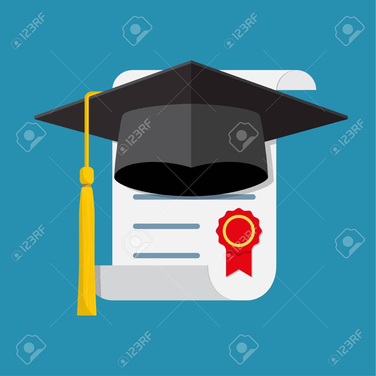 Foto de archivo - Gorra y diploma de graduación. Icono en un diseño plano.  Ilustración vectorial e769c8afe8e