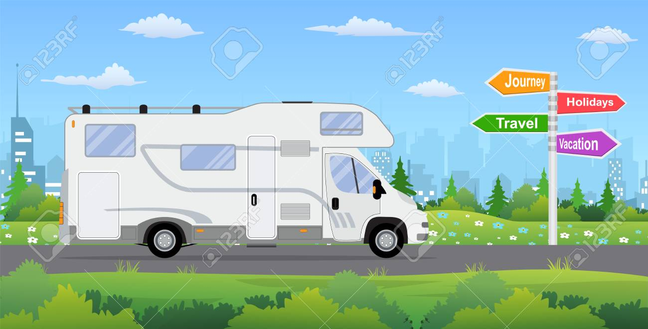 Camper Van On City Background Clipart Royalty Free Vettori E