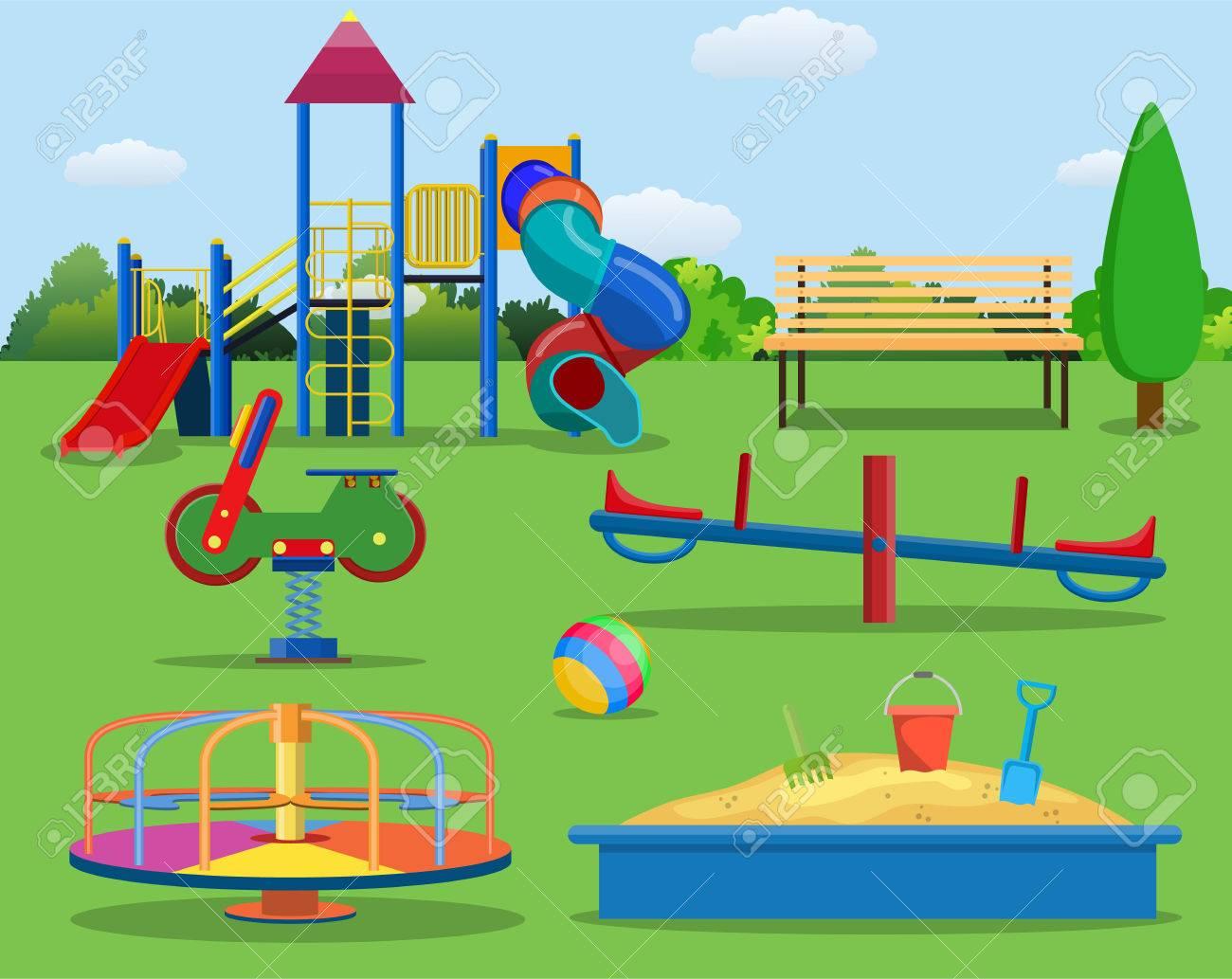 子供遊び場漫画コンセプトの背景。都市公園における子供の遊び場