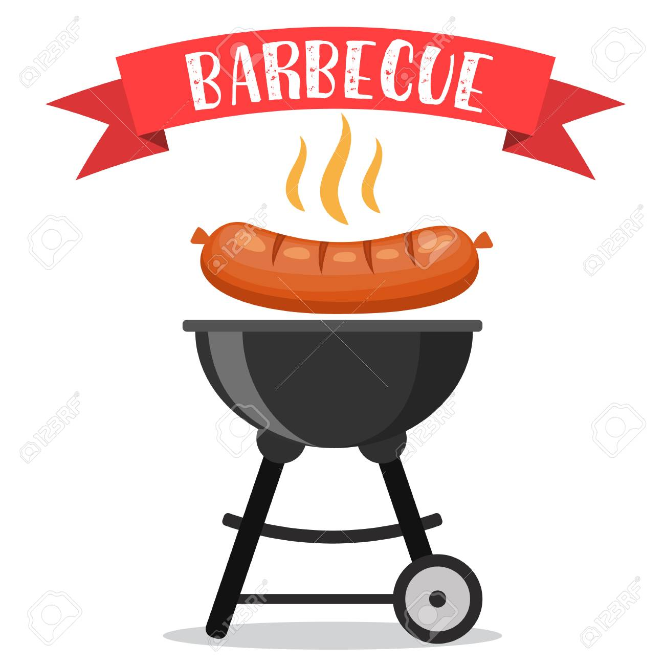 bbq or barbecue party invitation card vector illustration in