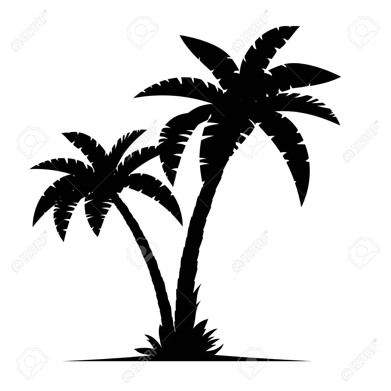tropical palm trees silhouettes isolated on white background rh 123rf com palm trees vector art free vector palm trees black and white