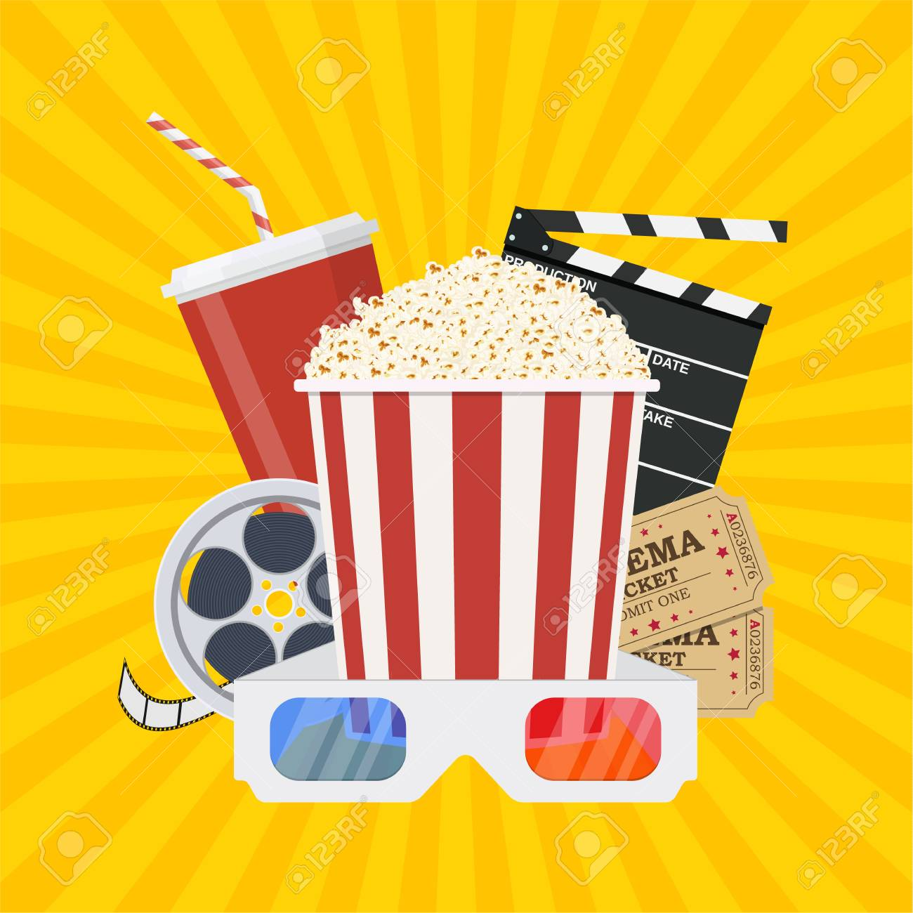 Movie Poster Template Popcorn Soda Takeaway 3d Cinema Glasses Royalty Free Cliparts Vectors And Stock Illustration Image 83745795
