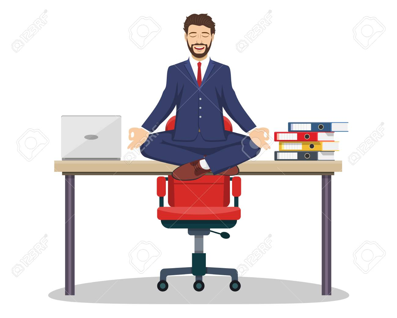 Business Man Executive Manager Sitting On An Office Desk In Royalty Free Cliparts Vectors And Stock Illustration Image 84988687