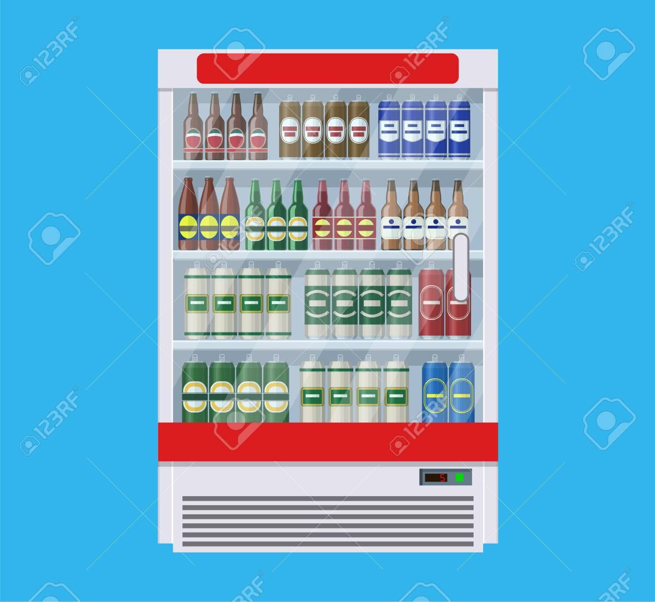 Zeigt Kühlschränke Für Die Kühlung Von Getränken In Flaschen Und ...