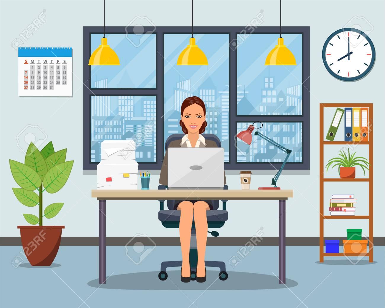 Trabajo de oficina con mesa, librería, ventana. Foto de archivo - 88046350