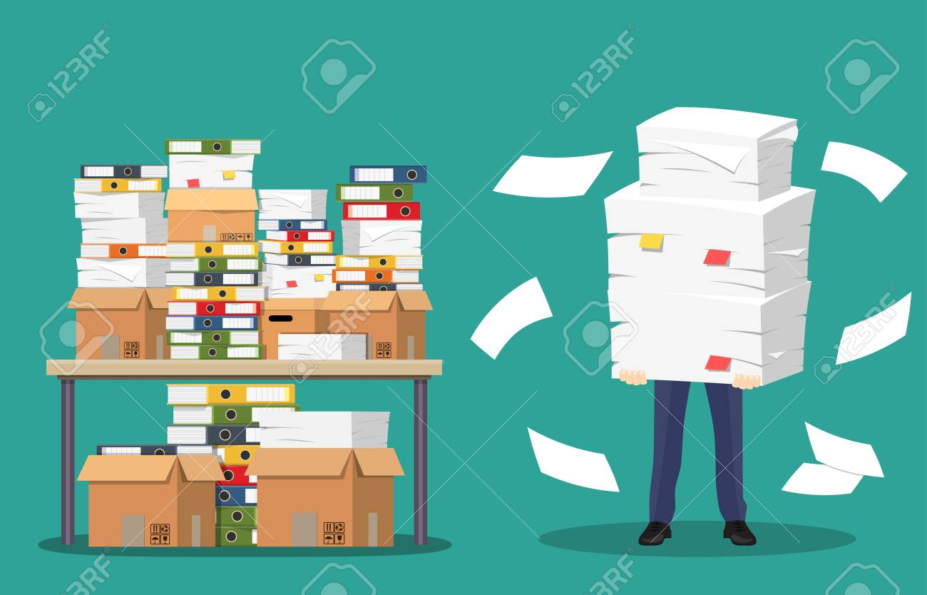 Businessman holds pile of office papers and documents. - 88041087