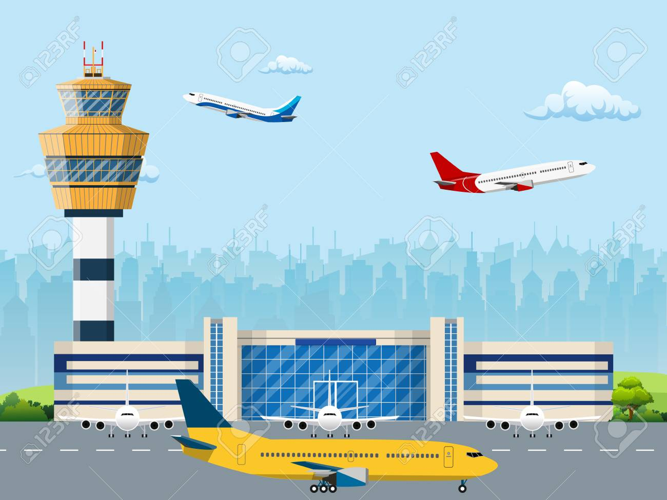 Modern building of airport terminal with control tower. Runway with planes. Vector illustration in flat style - 88120337