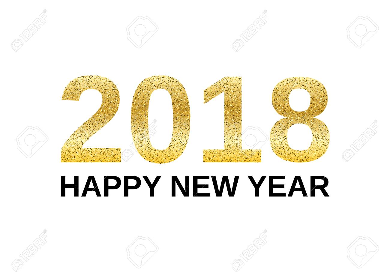 happy new year 2018 with golden glitter effect isolated on white background vector illustration