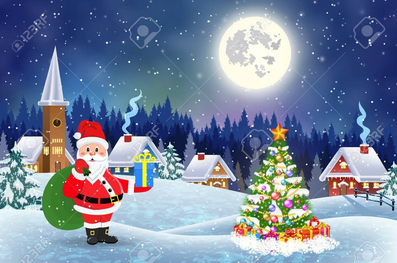 Maison Dans Le Paysage De Noël Enneigé Dans La Nuit