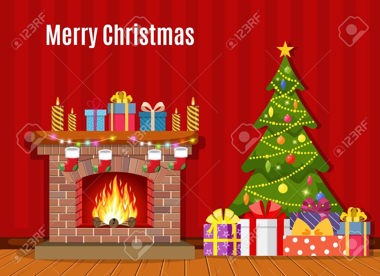 Christmas fireplace vector illustration