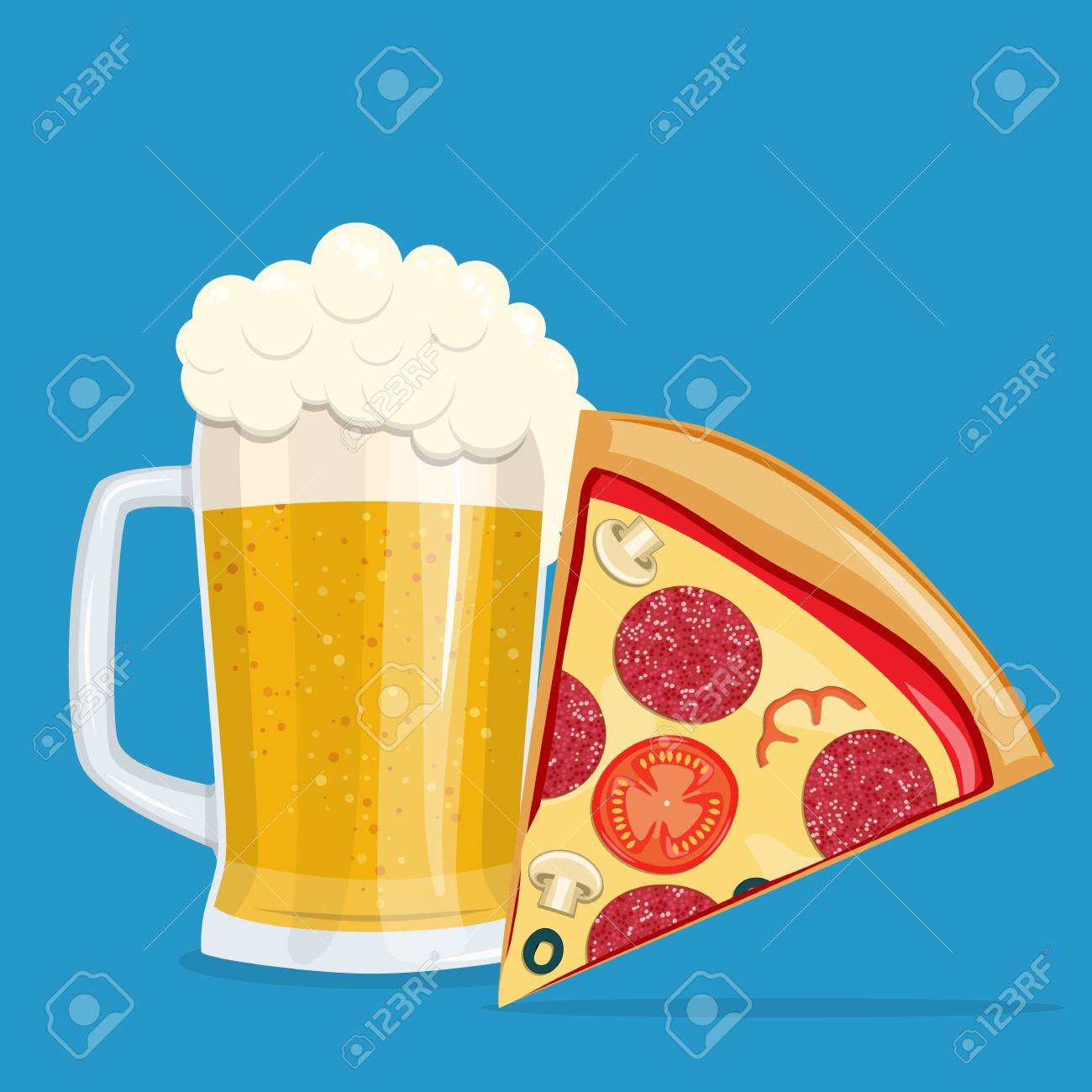 Beer and pizza. Vector illustration. - 95582322